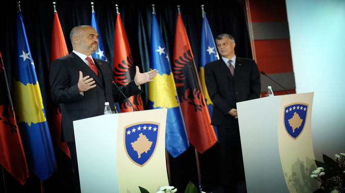 di Rama and Hashim Thaci during a Press Conference