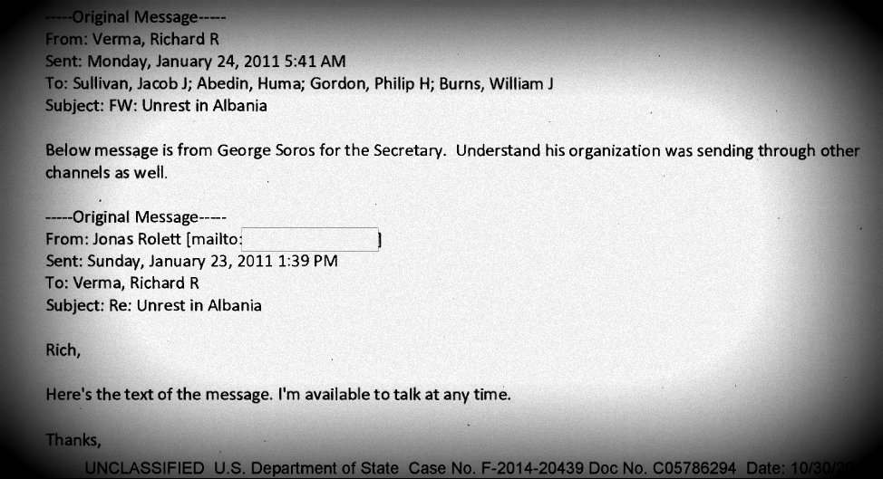 Soros writes to Clinton on Albanian unrest