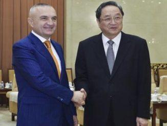 Ilir Meta with Yu Zhengsheng in Beijing