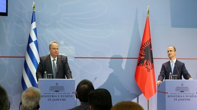 nikos kotzias and ditmir bushati in tirana