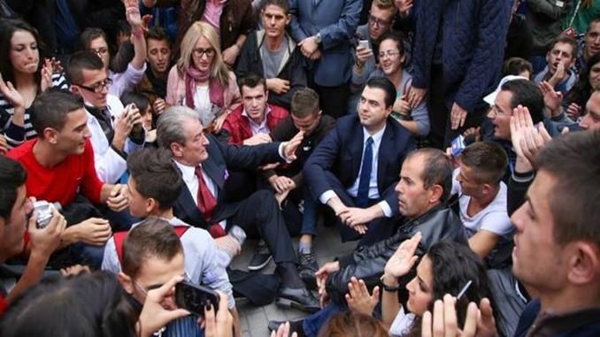 berisha, basha, tirana, democratic, protest, albania