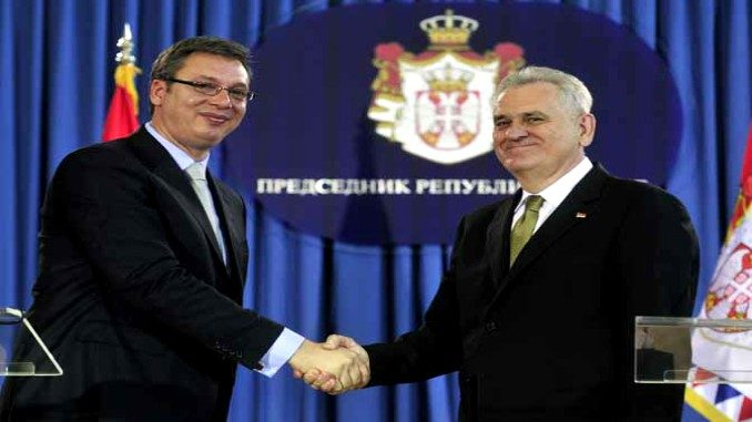 Tomislav Nikolic and Alexadar Vucic in Belgrade