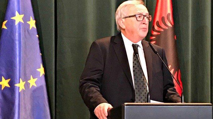 Jean Claude Juncker today in Tirana, Albania