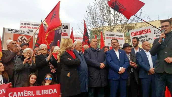 Cham Party Protesters earlier in Feb 2018 protesting outside the Greek Embassy in Tirana