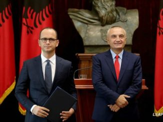 Albanian President Ilir Meta and Foreign Minister Ditmir Bushati