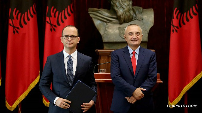Albanian President Ilir Meta and Foreign Minister Ditmir Bushati
