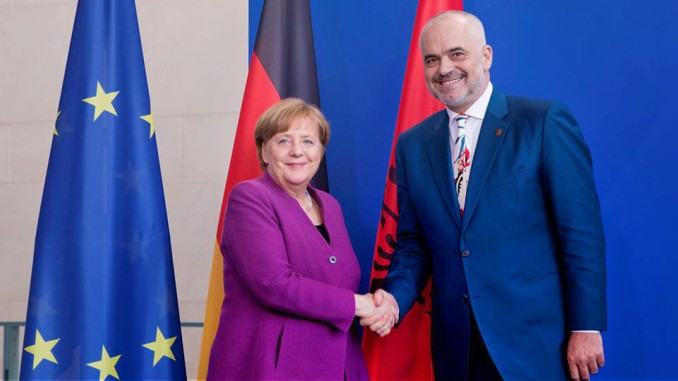 Albanian PM Edi Rama with German Chancellor Angela Merkel in Berlin
