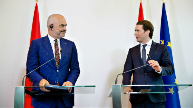 Albanian Premier Rama and Austrian Chancellor Kurz in Vienna