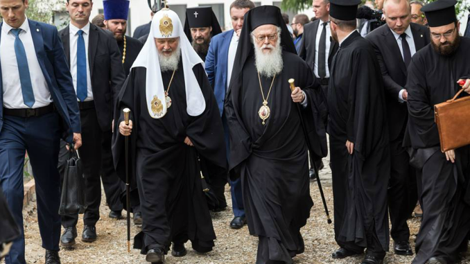 Russian Patriarch Kirill with Albanian Archbishop Anastasios of Tirana