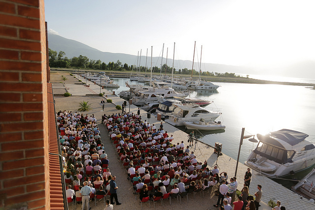 Albanian PM Edi Rama speaking at the Orikum Marina