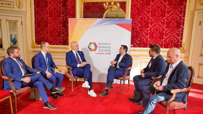 Prime Ministers Edi Rama and Alexis Tsipras at the Western Balkans Summit in London