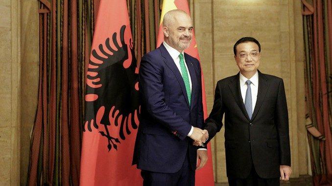 Chinese Premier Li Keqiang and Albanian PM Edi Rama in Sofia