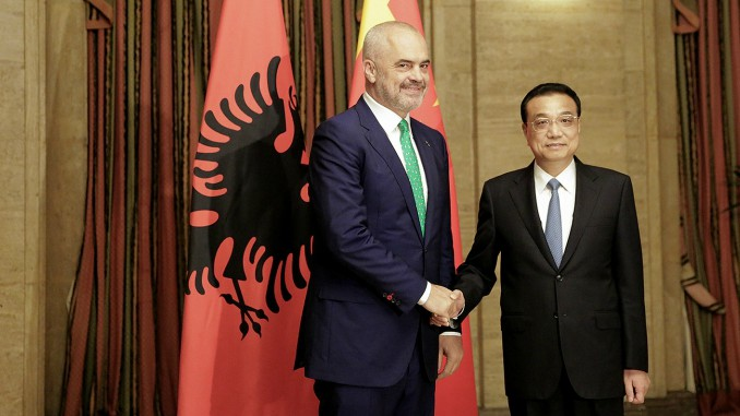 Chinese Premier Li Keqiang and Albanian PM Edi Rama in Sofia