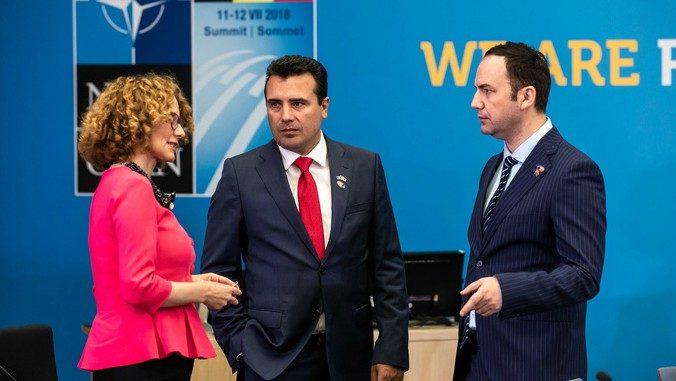 Macedonian PM Zoran Zaev & Defense Minister Radmila Šekerinska at the NATO Summit in Brussels