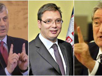 Hashim Thaci, Aleksandar Vucic and Sali Berisha