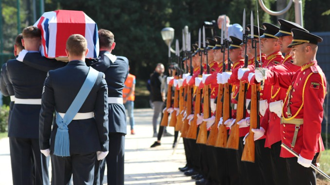 The coffin passes the Albanian Guard of Honour, Crown Copyright, all rights reserved