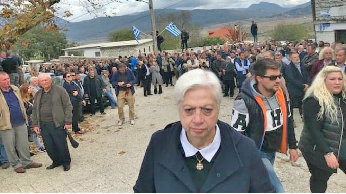Cypriot MEP Theocharous during the funeral of Kacifas in Bularat, southern Albania.