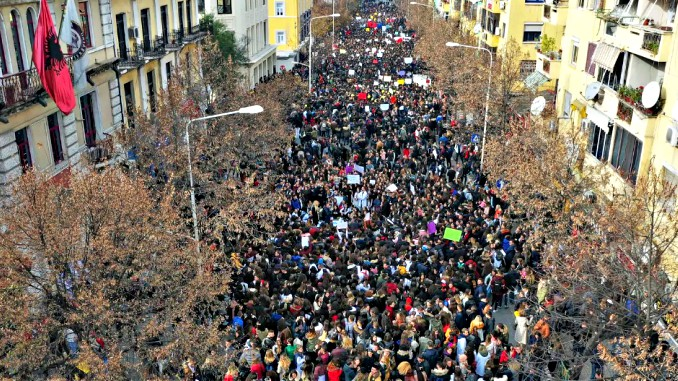 students protests tirana albania