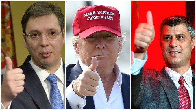 Aleksandar Vucic, Donald Trump, hashim Thaci (Left to right)