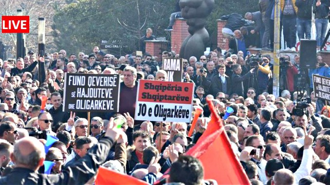 opposition albania protest parliament