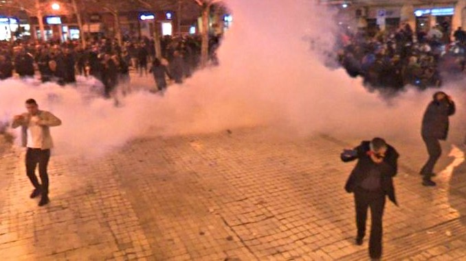 Albania Police Tear Gas Disperse Opposition Protest Parliament