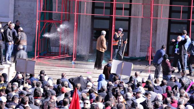 Tirana Protest Albania Opposition Violent Scaffolding