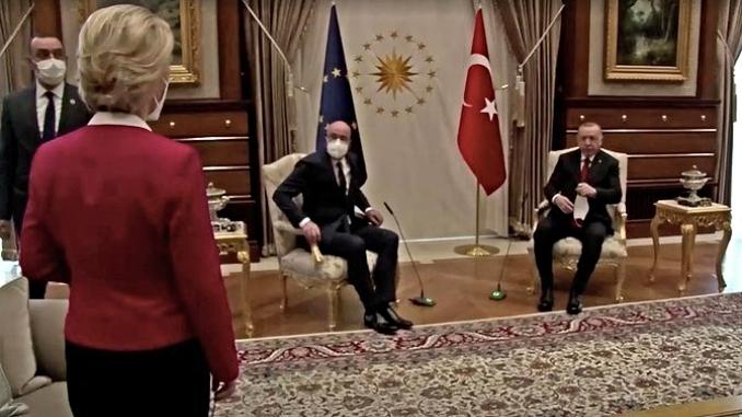 von der Leyen standing in Turkey